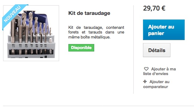 kit taraudage