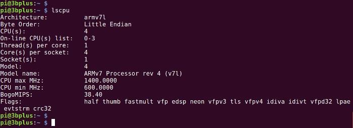 lscpu sur le raspberry Pi 3B+