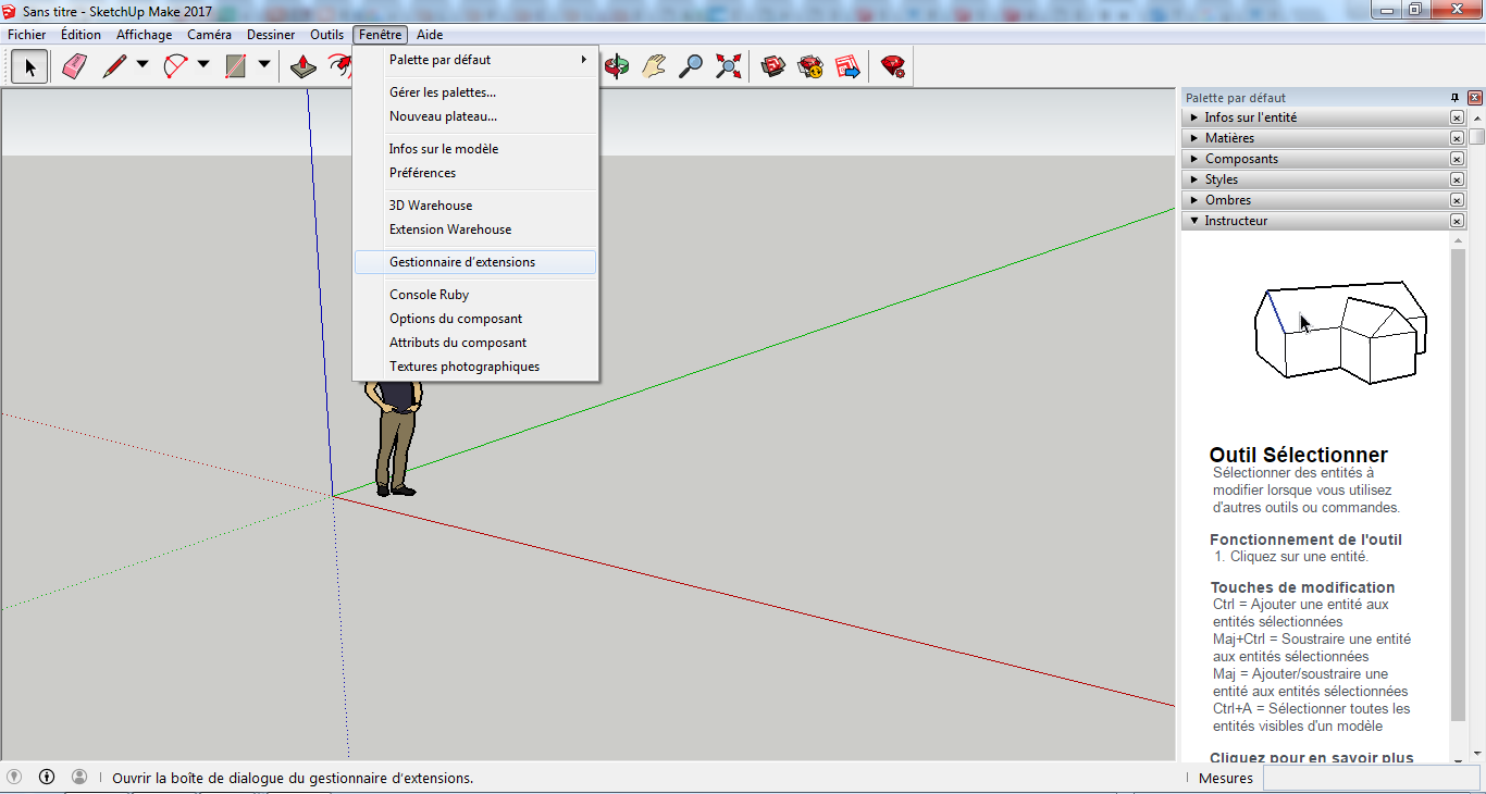 gestionnaire d'extension sketchup