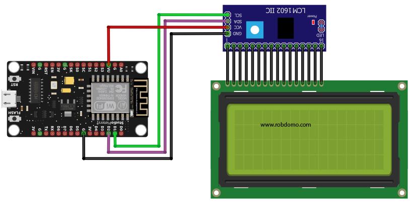 nodeMCU connecté à un écran LCD équipé d'un module i2c